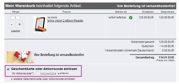 Tolino Vision 2 Gutscheincode