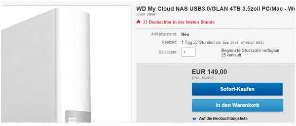 Western Digital MyCloud 4 TB im Cyberport Outlet