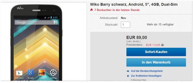 Für 89 € ist das Wiko Barry günstig bei Redcoon