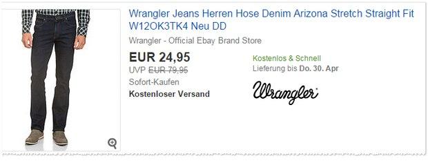 Wrangler Outlet: Jeans für 24,95 €