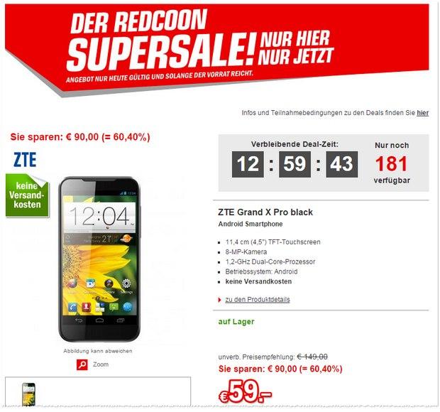 ZTE Grand X Pro bei Redcoon im Supersale für 59 €