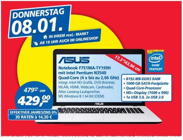Asus F751MA-TY199H als Real Preisbrecher am 8.1.2015 für 429 €
