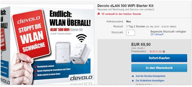 Devolo dLAN 500 WiFi-Starter-Kit Neuware bei comtech / eBay