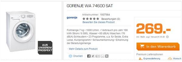 Gorenje WA 74600 SAT aus dem Saturn-Prospekt für 269 €
