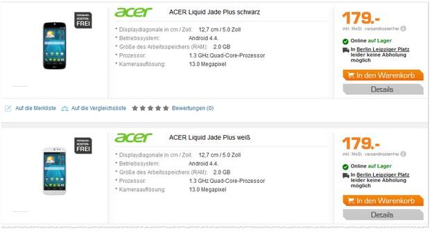 Acer Liquid Jade Plus für 179 € bei Saturn