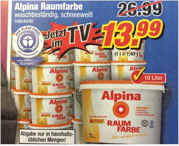 Alpina Raumfarbe bei POCO für 13,99 €