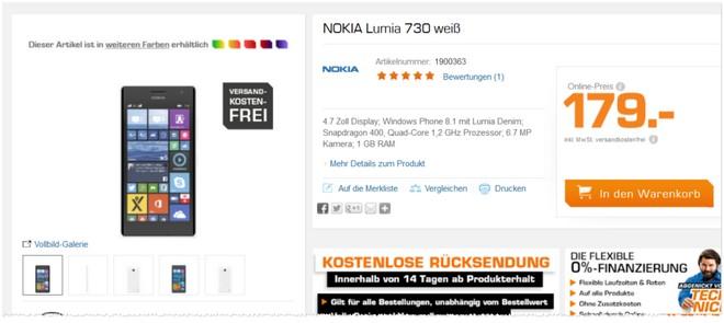 Angebot für das Nokia Lumia 730 bei Saturn