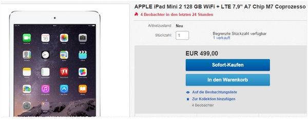 Apple iPad mini 2 + 128 GB für 499 €