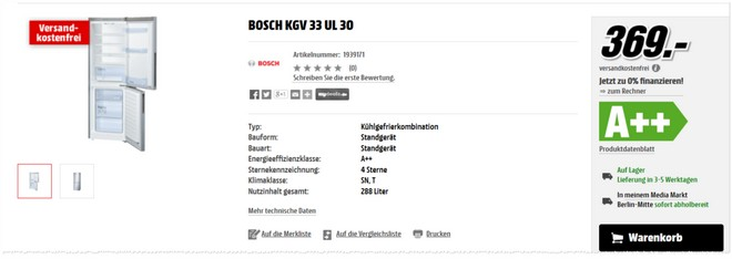 Bosch KGV33UL30 Tests