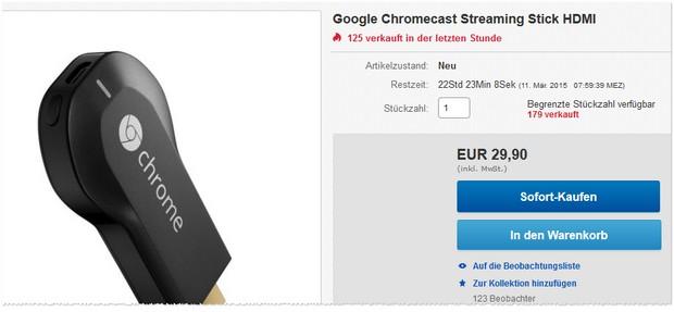 Chromecast als eBay-WOW-Angebot für 29,90 €