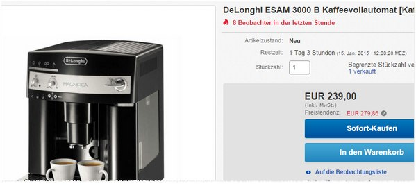 delonghi magnifica esam3000 b g nstig f r 239. Black Bedroom Furniture Sets. Home Design Ideas