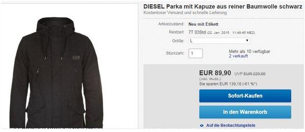DIESEL Parka für 89,90 €