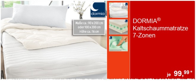 dormia kaltschaummatratze aldi s d angebot 23. Black Bedroom Furniture Sets. Home Design Ideas