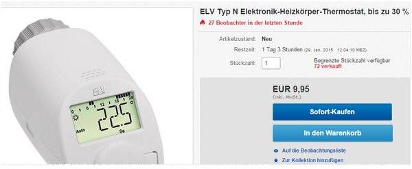 ELV Heizkörperregler unter 10 €