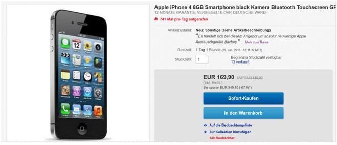 gebrauchtes Apple iPhone 4 ohne Vertrag