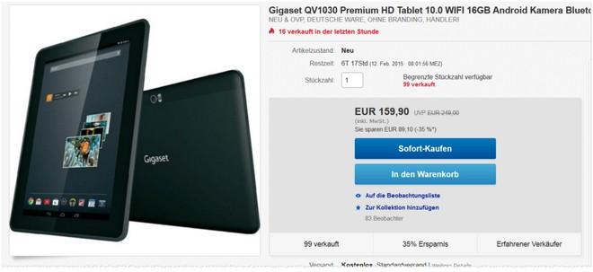 Gigaset QV1030 Tablet Tests