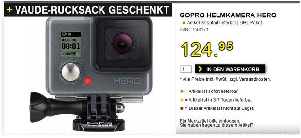 GoPro Helmkamera + Vaude Rucksack für 124,95 €