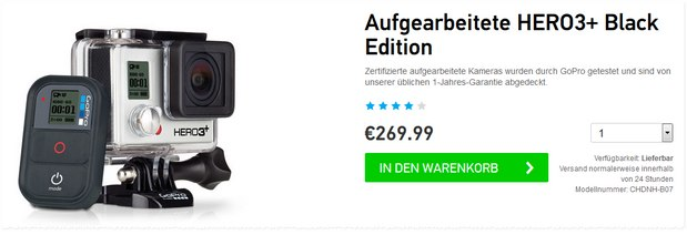 GoPro Hero 3+ Black Edition refurbished im GoPro Shop für 269,99 €