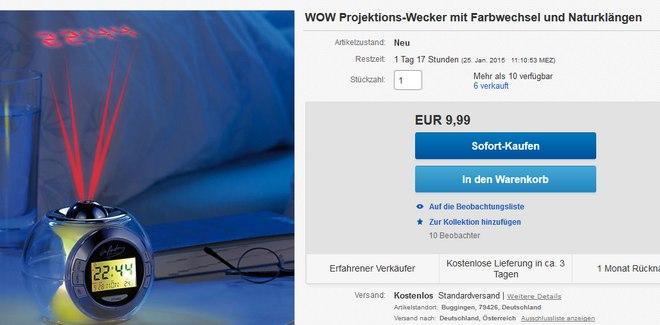 inFactory Projektionswecker im Pearl Outlet für 9,99 €