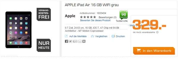 iPad Air mit 16 GB bei Saturn für 329 €