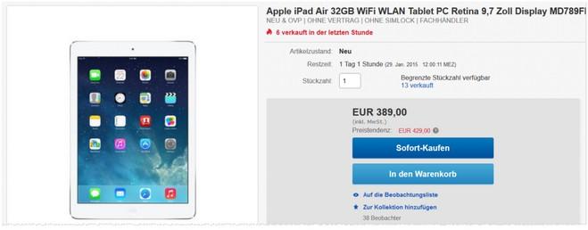 iPad Air Angebot mit 32GB