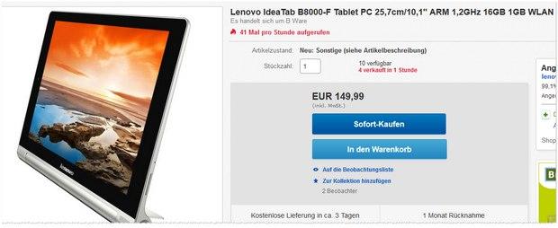 Lenovo Yoga Tablet IdeaTab B8000-F als B-Ware