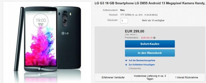 LG G3 ohne Vertrag unter 300 Euro