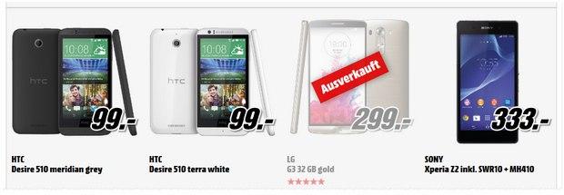 Media Markt Alles raus mit HTC Desire 510 für 99 €