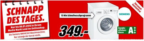 Media Markt Schnapp des Tages am 6.1.2015: Siemens WM14E3A1 für 349 €