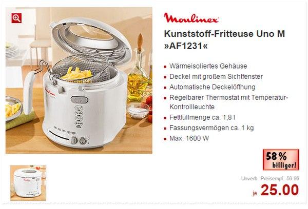 Als Kaufland-Angebot vom 5.1. bis 10.1.2015 wird die Moulinex Uno M AF1231 Fritteuse auf 25 € reduziert