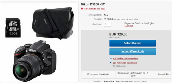 Nikon D3200 Kit im Redcoon Outlet