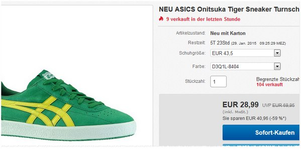 Onitsuka Tiger Sneaker für 28,99 €