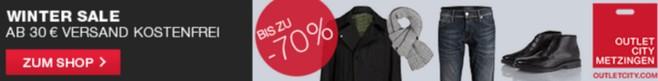 Outletcity Sale mit bis zu 70 Prozent Ersparnis