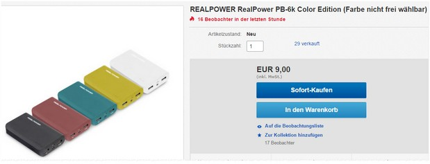 RealPower Powerbank PB6001 bei Media Markt