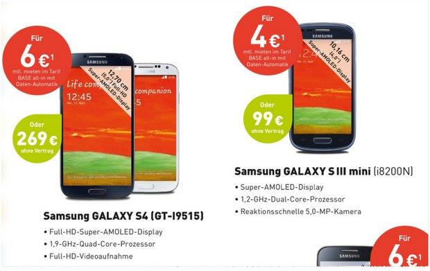 Samsung Galaxy S3 mini bei BASE für 99 €