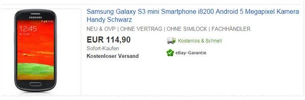 Samsung Galaxy S3 mini als Handy-Schnäppchen für 114,90 €