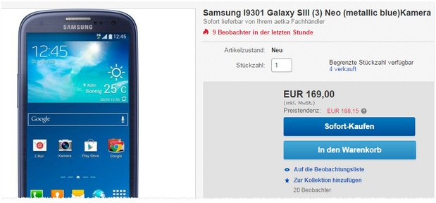 Samsung Galaxy S3 Neo ohne Vertrag