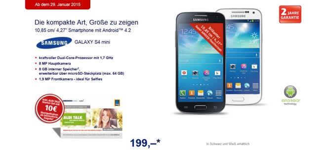 Samsung Galaxy S4 mini bei ALDI Nord