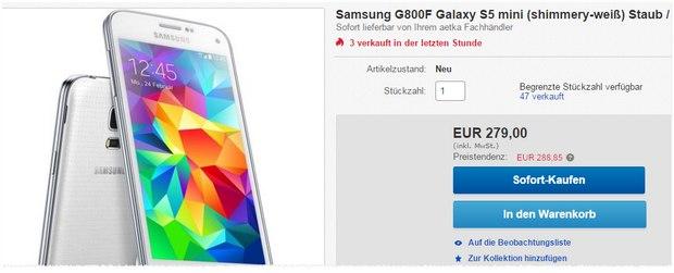 Samsung Galaxy S5 mini ohne Vertrag bei eBay in Weiß für 279 €