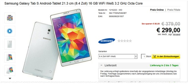 Samsung Galaxy Tab S Angebot mit Cashback