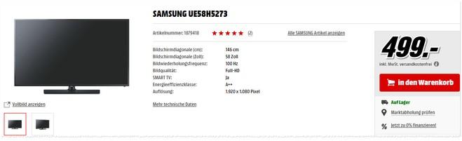 Samsung UE58H5273 Angebot