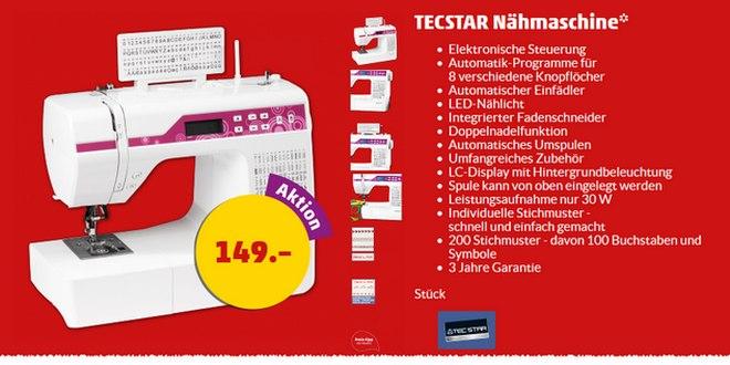 Tecstar Nähmaschine bei Penny-Markt für 149 €
