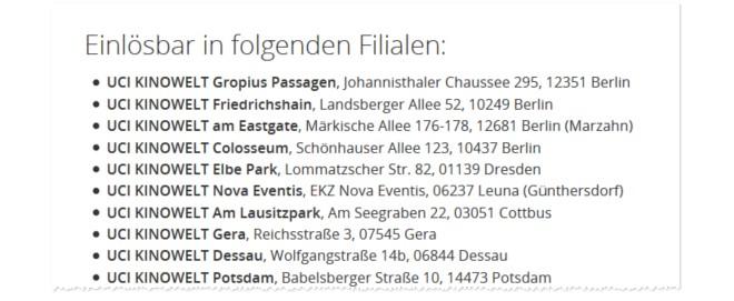 UCI Kino Gutscheine für Berlin, Potsdam und Co.