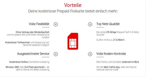 Vodafone CallYa Freikarte mit Vorteilen