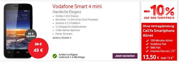 Vodafone Smart 4 mini ohne Vertrag kaufen