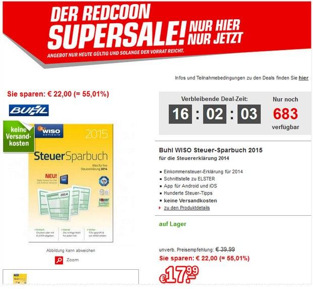 WISO Steuer-Software 2015 im Redcoon Hot Sale für 17,99 €