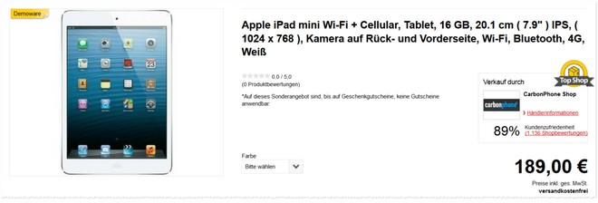 Apple iPad mini als B-Ware