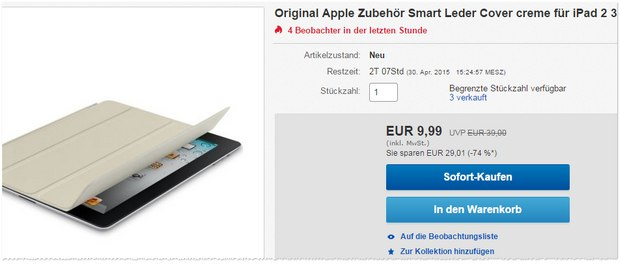 Apple Smart Cover als eBay-WOW für 9,99 €