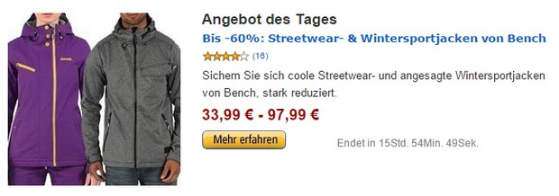 bench jacken reduziert bei amazon. Black Bedroom Furniture Sets. Home Design Ideas