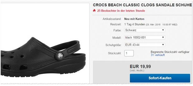 Crocs Gartenschuhe in Schwarz